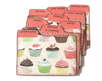 Recipe Box Dividers made of Formica - Cupcakes - set of 9 dividers