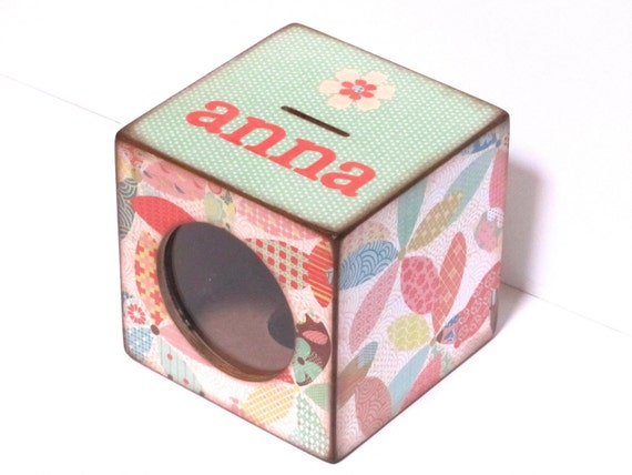 Piggy Bank Wood Coin Bank Box with Window - Flowers with green and peach - Personalized