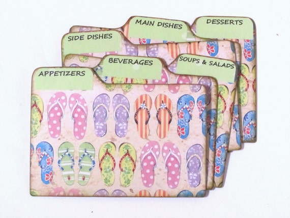 Recipe Box Dividers made of Formica - Flip Flops in the Sand - 4x6 inch recipe card dividers