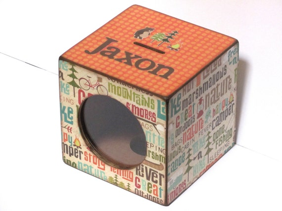 Wooden Coin Bank Piggy Bank - Happy Camper Outdoors - Personalized