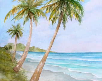 Swaying Palms Original Watercolor Painting Art 16 X 20