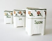 Vintage French Faience Porcelain Kitchen Canisters Made in France