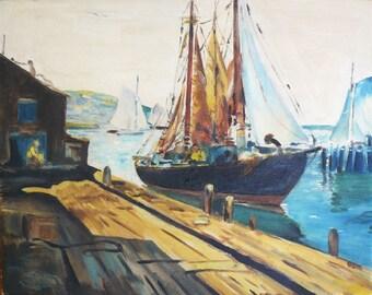 Original Vintage Impressionist Landscape Seascape Oil Painting Dock Sailboats Floating Frame