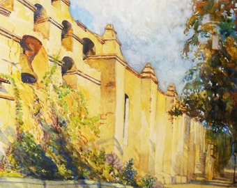 Vintage Impressionist Watercolor San Gabriel Mission California Landscape Listed Artist Benjamin Kelman