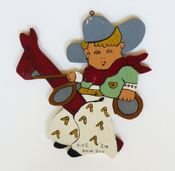 Vintage Folk Art Ride 'Em Cowboy Children's Wall Plaque
