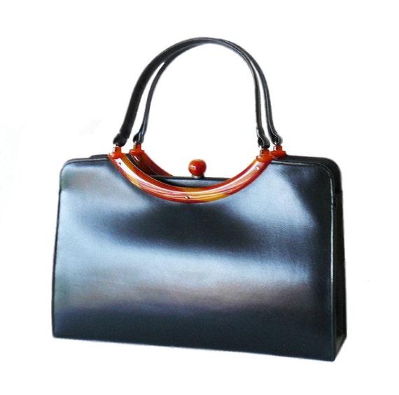 Classic Mid-Century Black Garay Handbag With Tortoise Shell Lucite Trim