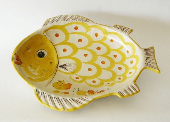 Vintage italian majolica solimene vietri sul mare fish serving for Fish serving platter