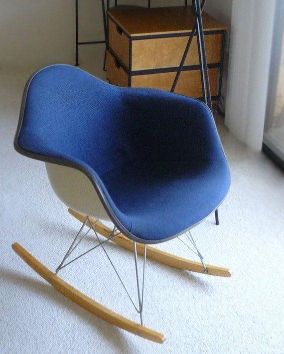 Authentic Mid-Century Eames Blue RAR Rocking Chair Herman Miller