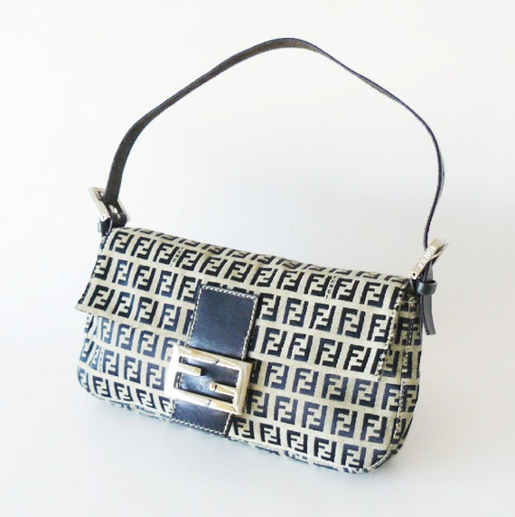 Authentic Classic Signature Fendi Navy Blue Zucca Baguette Bag Made in Italy