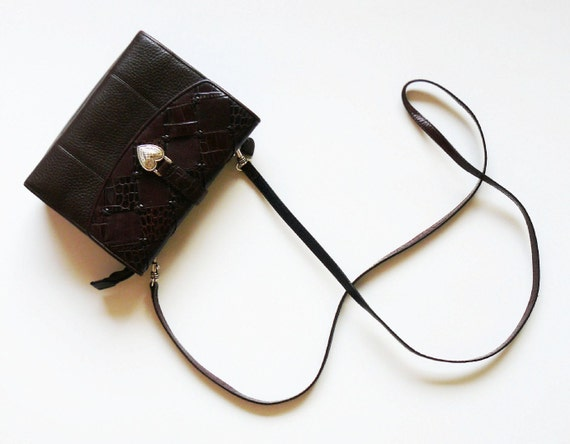 Authentic Vintage Brighton Black & Brown Leather Organizer Clutch Shouder Bag