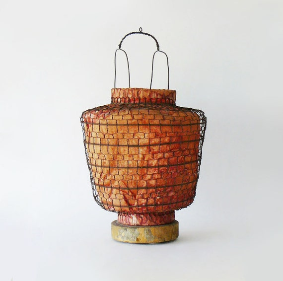Antique Handmade Chinese Wire & Red Paper Oriental Hanging Lantern