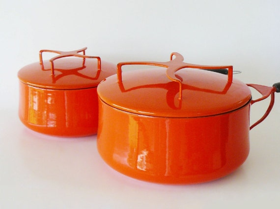 Reserved / Mid-Century Danish Modern 5 Piece Red Enamel Milanoware Cookware Set Made in Italy