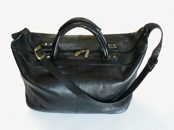 Reserved/Vintage Valentina Black Leather Travel Shoulder Bag  Made In Italy XL Unisex