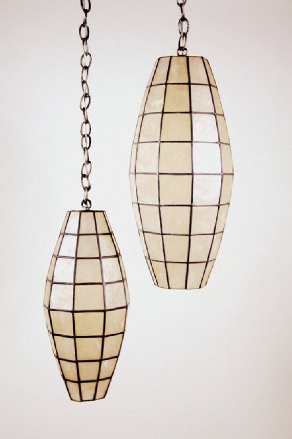 Mid Century Modern Capiz Shell Faceted Hanging Pendant Lamps