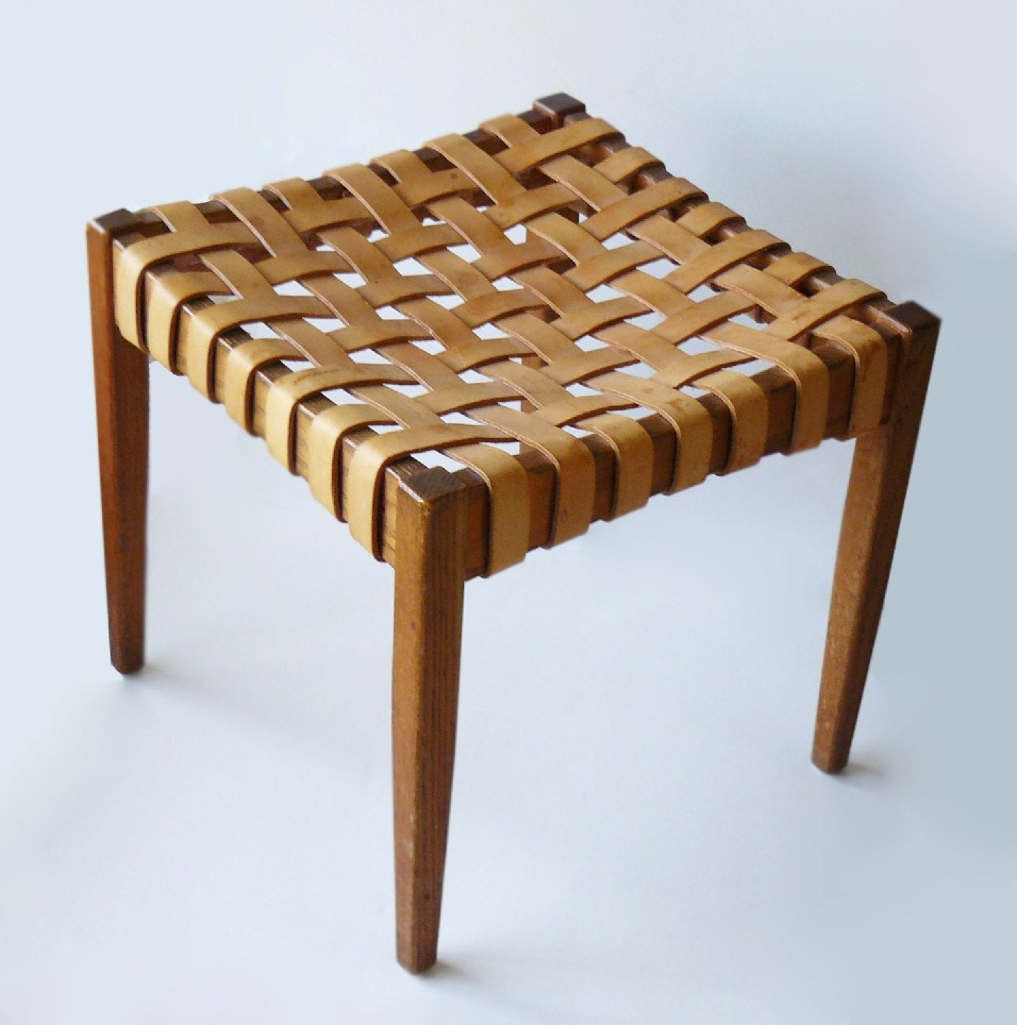 Mid Century 1950 S Danish Woven Leather Amp Wood Stool