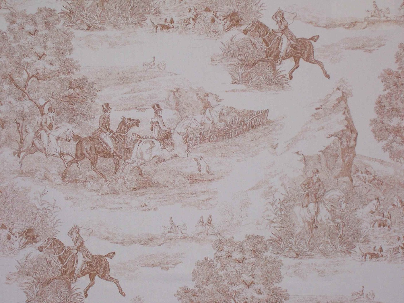French Country Ride Cotton Toile Fabric Equestrian by belmodo