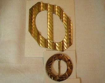 Two Vintage Goldtone Metal Belt Buckles