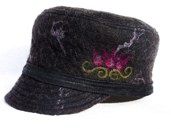 Black Felted Hat - Wet Felted with beautiful lotus flower