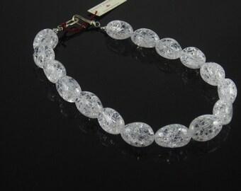QUARTZ CRYSTAL NECKLACE Heated Crackle Ovals Sterling Silver Spring Bridal Dressy Business Attire Choker