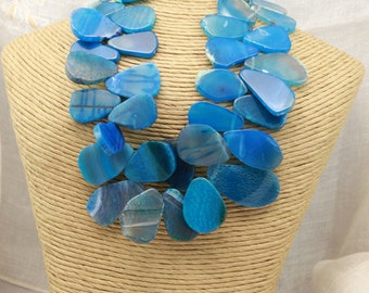 Dramatic BLUE AGATE Slices NECKLACE with Turquoise Beads, Blue Flakes Choker Summer Sale Statement Necklace