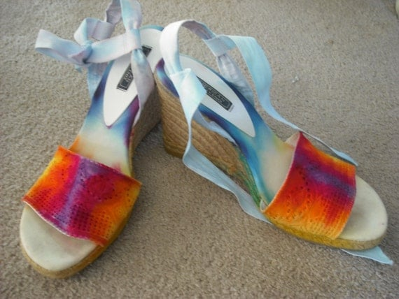 Tie dye Wedge shoes-upcycled