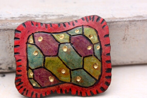 Cell Structure Gourd Badge in Purple, Green and Blue