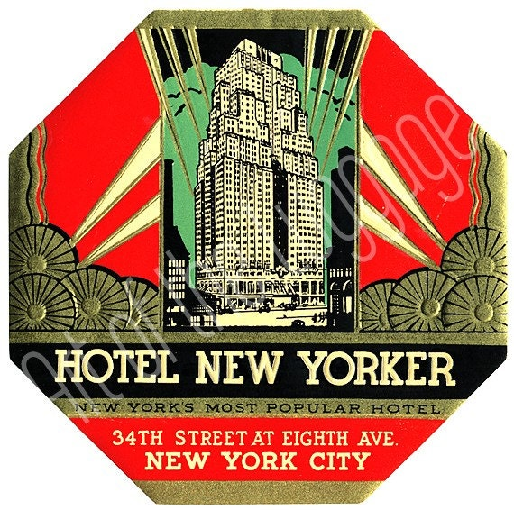 vintage 1930 39 s art deco hotel new yorker nyc luggage label. Black Bedroom Furniture Sets. Home Design Ideas