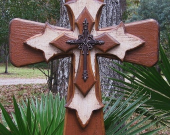 PC001 Rustic Brown and White Stacked Wooden Cross