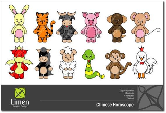 Chinese Zodiac Sign Clip Art, Chinese New Year, Animals ...