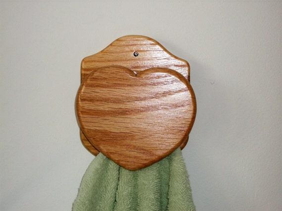 HEART towel rack bar country Amish style oak