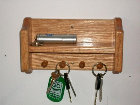 Key Rack Shelf Oak Wall Hanging