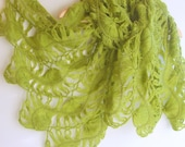 Lace shawl in olive green color