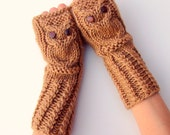 Owl Fingerless Gloves/Mittens in Light Brown