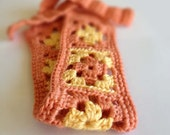 Crochet Headband - Peach & Yellow Bamboo Yarn