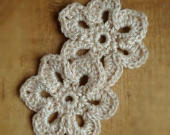 "2 Ivory White 1.75"" Crochet Flower Embelishments for Headbands, Hats, Purses, Sweaters, Crafts, Scrapbooking"