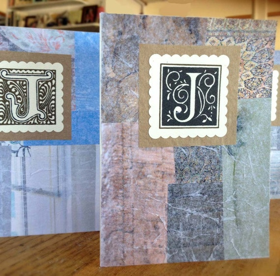 "4 Letter ""J"" Notecards Collage, Recycled Paper Materials- - Each One of a Kind"