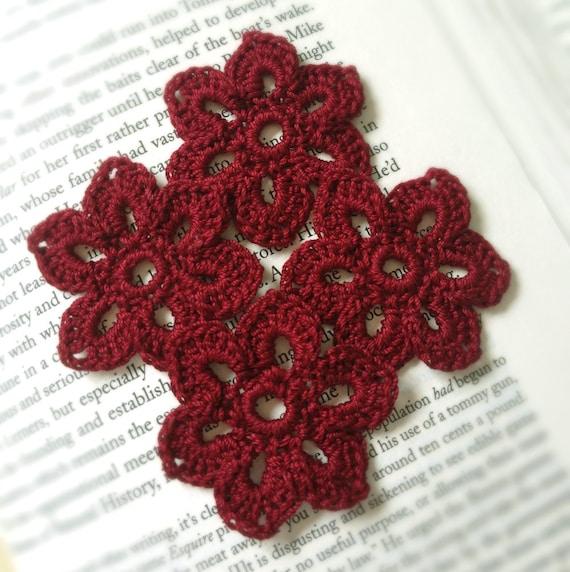 Crochet Flowers Applique Embelishments, Oxblood, Garnet Red for Headbands, Handbags, Sweaters, Scarves, etc