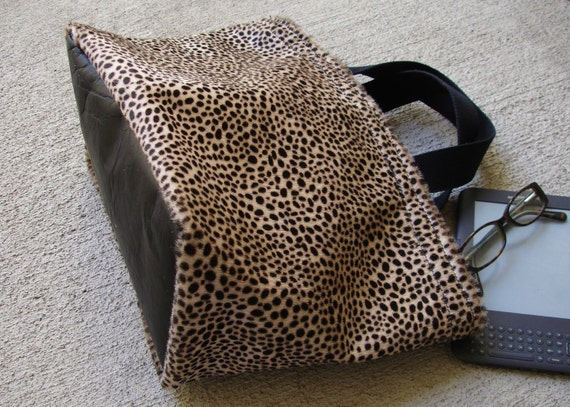 LAST ONE -  Sweet Hair-On Cheetah print Leather Triangle Tote Bag Satchel - Large