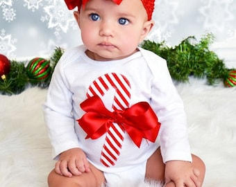 Adorable Christmas Candy Cane Baby Bodysuit Bloomers and Bow Set