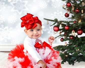 SALE Adorable Christmas Candy Cane Petti tutu Set NB to 24 months