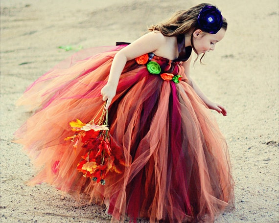 Beautiful Full Length Fall Tulle Dress Great for Special Events