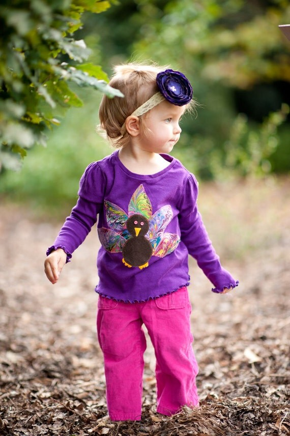 The Cutest Applique Thanksgiving Turkey Shirt Infant, toddler and girls sizes