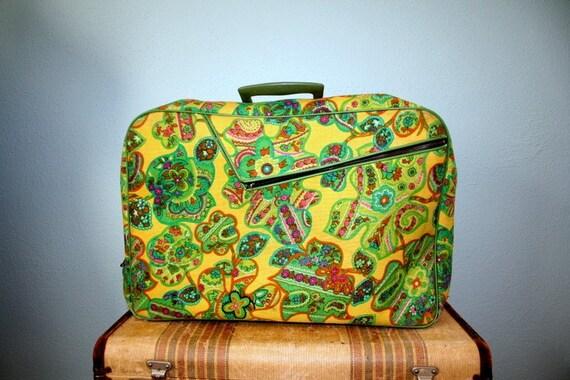 1960's Floral Suitcase