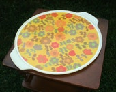 Serving Tray,Vintage 60's Plastic with Fun flowers