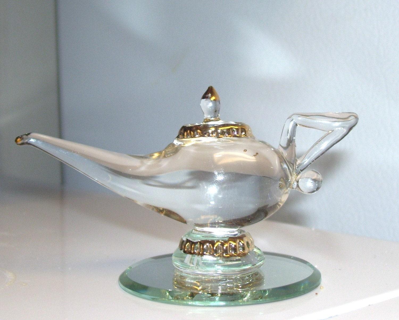handblown glass miniature genie lamp 80s vintage collectible
