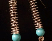 Turquoise Spring Earrings - Upcycled Hardware Geek Jewelry