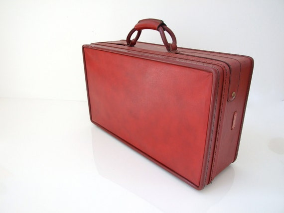 RESERVED Hartmann Suitcase Luggage Vintage Red Old Pink Satin
