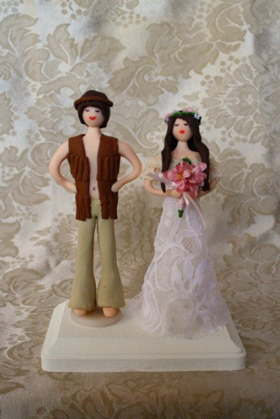 Items Similar To 6 Hippie Bride And Groom Wedding Cake Topper Customized To Your Features On A