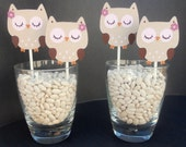 Cute Little Hoot Owl Cupcake Toppers Set of 12
