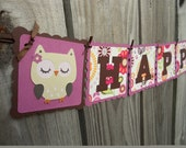 Happy Birthday Banner and Name Banner Combo Owl Cute Little Hoot